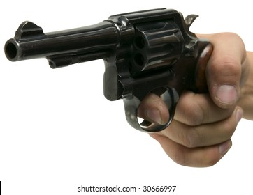 hand pointing gun point of view isolated on white