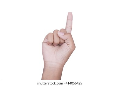 Hand pointing up isolated on white background