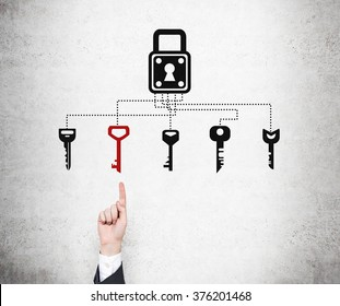 A hand pointing at a red key out of several keys drawn under a lock on a concrete wall. Black background. Concept of finding a solution.