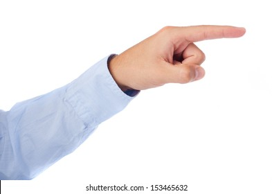hand pointing right on a white background
