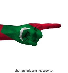Hand pointing right side, maldives painted with flag as symbol of right direction, forward - isolated on white background