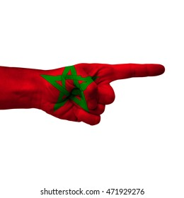 Hand pointing right side, morocco painted with flag as symbol of right direction, forward - isolated on white background