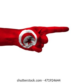 Hand pointing right side, tunisia painted with flag as symbol of right direction, forward - isolated on white background