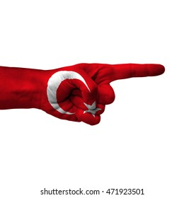 Hand pointing right side, turkey painted with flag as symbol of right direction, forward - isolated on white background