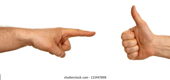 Hand pointing to a hand showing thumb up isolated on white background