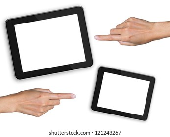 hand pointing to tablet isolated white