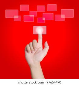 Hand pointing, touching or pressing on red background