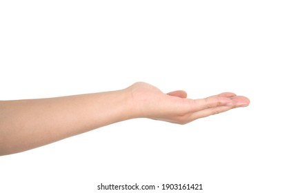 A hand pointing upwards and then gestures in front of a white background