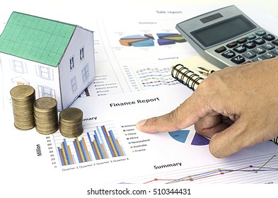 Hand pointing to word America on finance document for mortgage loans concept
