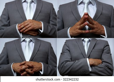 Hand position. Non-verbal communic