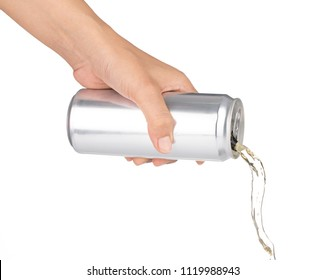 Hand pouring beverage from metal can isolated on white background