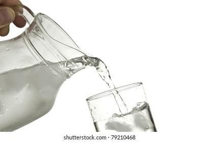 hand pouring water in a glass against a white background