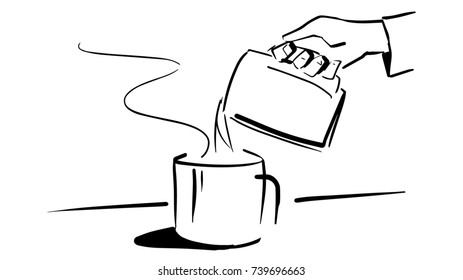 A hand pours hot liquid from one mug to another one. Black and white sketch. Simple drawing at white background.
