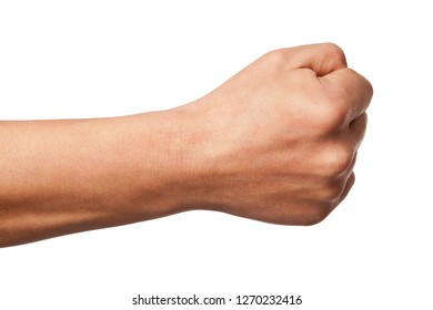 Hand power fist gesture isolated on white.