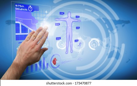 Hand presenting against futuristic black background with circles