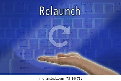 """Hand presents the word """"Relaunch"""""""