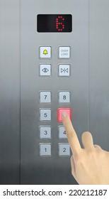 hand press 6 floor in elevator