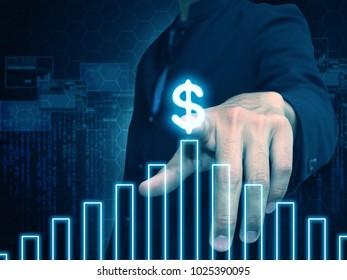 Hand press growing money chart