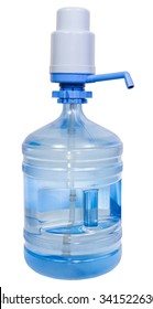 Hand Press Manual Pump Dispenser on 5 Gallon Drinking Water bottle isolated on white background