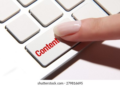 Hand press on content button