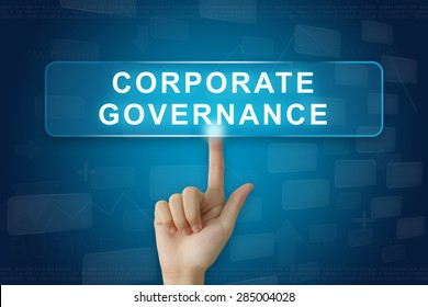 hand press on corporate governance or CG button on virtual screen