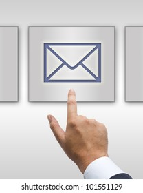 Hand press on mail icon button
