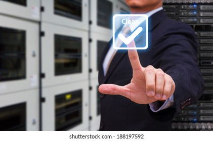 Hand press on power button