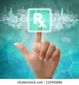 Hand press on Prescription Symbol ,medical background