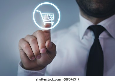 Hand press on Shopping Cart icon.