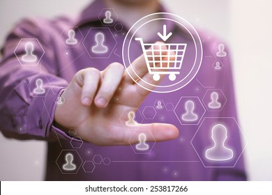 Hand press on shopping sign cart web icon