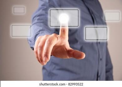 hand presses the virtual button