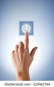 hand presses the virtual button girl