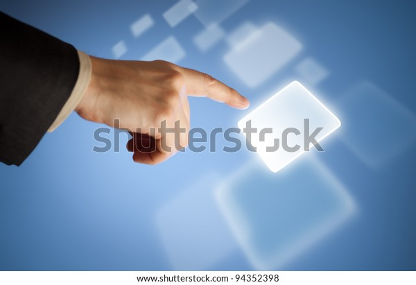 Hand pressing abstract virtual button on touchscreen
