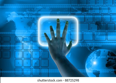 hand pressing a button on a touch screen interface