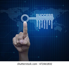 Hand pressing key with business words over digital world map technology style, Success business concept, Elements of this image furnished by NASA