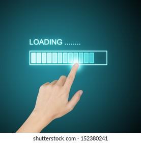 hand pressing loading progress on screen