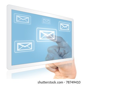 Hand pressing mail world wide on the tablet.