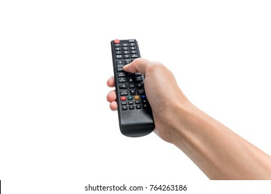 Hand pressing remote control isolated on white background