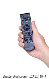 Hand pressing remote control on white background