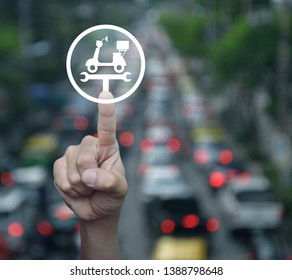 Hand pressing service fix motorcycle with wrench tool flat icon over blur of rush hour road with cars in city, Business repair motorbike service concept