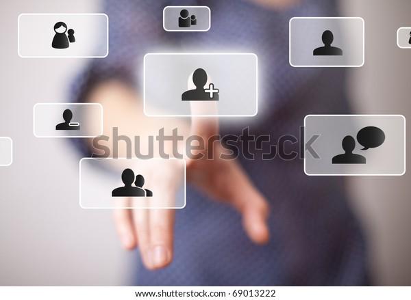 hand pressing social media button 2