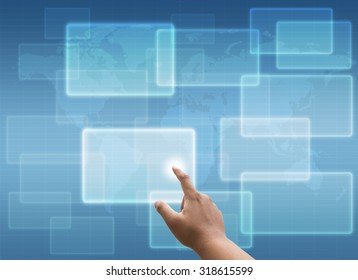 hand pressing Social media and networking concept and virtual touch screen