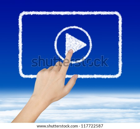 hand pressing start button on cloud video clip