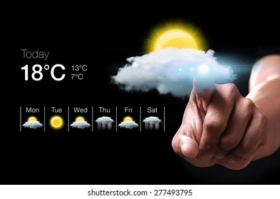 Hand pressing virtual weather icon. Weather forecasting is the application of science and technology to predict the state of the atmosphere for a given location.
