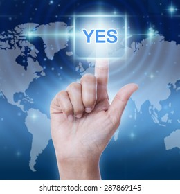hand pressing yes sign on virtual screen. business concept
