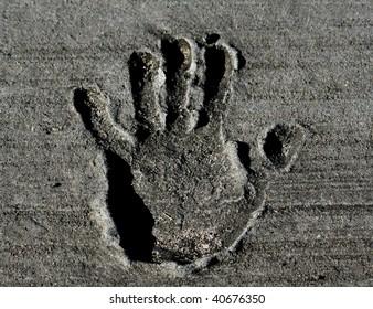 Hand print in Concrete