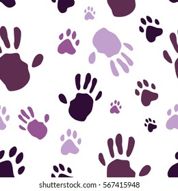 Hand print human and animal paw print seamless pattern. Rasterized copy. Isolated on white background.