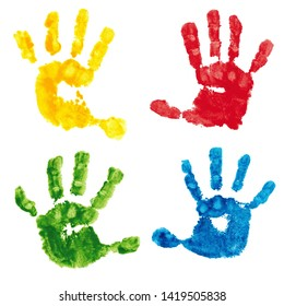 Hand print kid, four prints of children's palms. Children's hands, baby palms, watercolor. Isolated handprint.