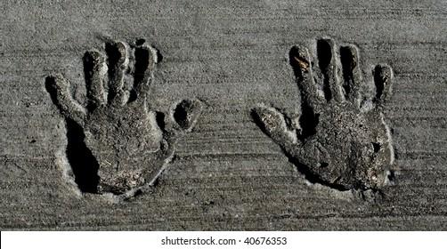 Hand Prints in Concrete