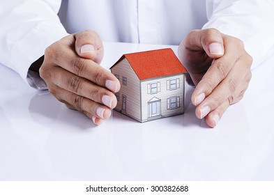 hand protection house paper for mortgage loans concept
